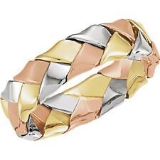14K Gold Woven Tri-Colour Band