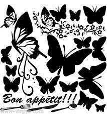 Sticker Planche Cuisine, Papillons, fleurs, 30x30cm, 18 coloris (CUISINE053)