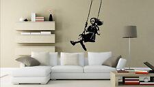 Banksy Style Swinging Girl Graffiti Art / Vinyl Wall Stickers Decal 45cm x 70cm