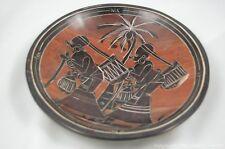 "Africa Kisii Handmade Soapstone Plate Village women 8"""