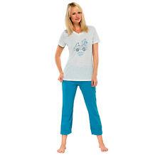 Schiesser femmes pyjama pantalon 3/4 100% CO taille 38-44 MANCHES COURTES M XL