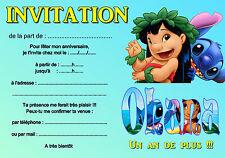 5 - 12 ou 14 cartes invitation anniversaire lilo et stitch REF 440