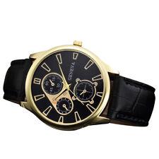 Men Retro Design PU Leather Analog Quartz Round Wrist Watch Elegant Bussines Hot