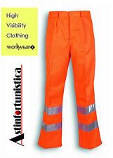 pantaloni alta visibilità arancioni bande riflettenti EN 471 catarifrangenti