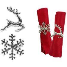 argent Noël ANNEAU DE SERVIETTE - Cerf, flocon de neige, étoile ou Sapin de Noël