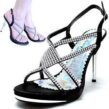 New women's shoes stilettos rhinestones satin open toe wedding prom black