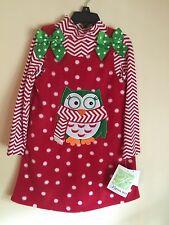 NEW Bonnie Jeans Girls Red Christmas Fleece Owl  Jumper Dress Size 5, 6 Chevron