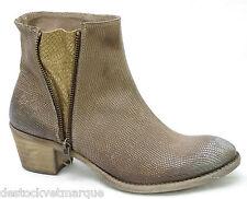 BUNKER Shoes Bottines boots femme beige foncé cuir GEKO TABAC