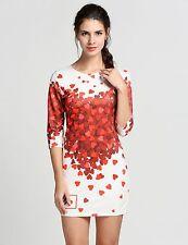 vestito abito corto manica lunga donna bianco rosso cuori elegante  3241