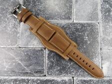 German Military Aviator Watch Strap Army Leather Cuff Watch Band Bund Brown WH