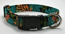 Turquoise Tropical Fern on Black Dog Collar Adjustable Handmade Custom Designer