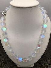Natural 8/10/12mm white Gleamy Rainbow Moonstone Round Gems Beads Necklace 18''