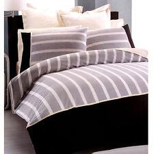BELMONDO Bondi Stripe Black Ivory Quilt Doona Duvet Cover Set - DOUBLE or KING