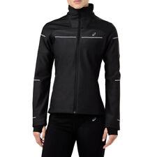 Asics Womens Lite-Show Winter Running Jacket Top Black Sports Full Zip Water