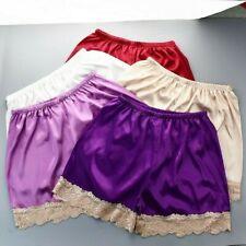 Women Satin Lace Underwear Underpants Loose Faux Silk Nightwear Sleepwear