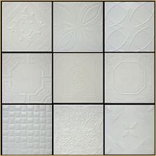 ANTIQUE WHITE FLAT STYROFOAM 20x20 TIN LOOK CEILING TILES DIFF PATTERNS