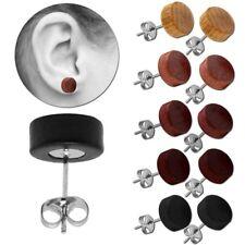 1 Paar Holz Ohrstecker Kugel Braun Schwarz Button 10mm Ohrringe Natur Damen
