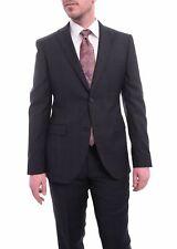 Zanetti Slim Fit Navy Blue Windowpane Plaid Two Button Wool Suit
