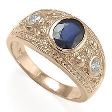 CEYLON SAPPHIRE AND DIAMOND MEN'S RING 14K ROSE GOLD Ring Sizes 7 to 14 #R1005