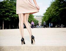 Collants chair couture trait pois noir retro pinup taille 34 à 46 Pamela Mann