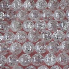 Grade A Natural Crackle Crystal Quartz Round Beads 4mm 6mm 8mm 10mm