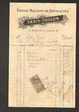 """TOULON (83) GRANDS MAGASINS DE NOUVEAUTES """"PARIS-TOULON"""" en 1901"""