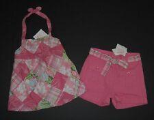 Janie & Jack Island Summer Patchwork Halter Top & Shorts 4T Pink Set Lot Girls