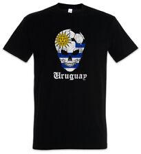 Uruguay Football Skull I T-Shirt uruguayisch Soccer Flagge Fahne Fußball Banner