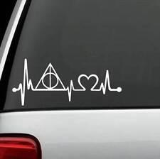K1099 Deathly Hallows Heartbeat Lifeline Decal Sticker Harry Potter