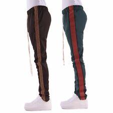 EPTM Mens 4 Stripes Elastic Side Ankle Zipper Long Drawstring Techno Track Pants