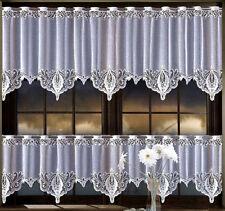 "Kitchen Curtain White Cafe Net Lace  20"" & 28"" Drop Price Per Metre"