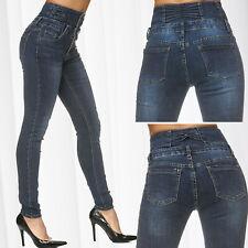 Pantalon Jeans Femme Taille Haute Corsage Maigre Utilisé Forme Voie Ventre Effet