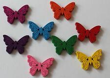 Pack De 5 De Madera Mariposa Botones. dos Agujero 22 Mm porciones de colores disponibles.