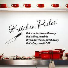 Reglas De La Cocina Arte Pegatina Pared Adhesivo de vinilo frase W116