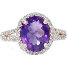 3ct Amethyst & Diamond Oval Halo Ring 14K Rose Gold