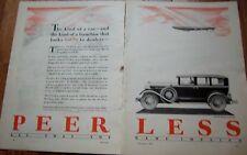 1928 PEERLESS Six 81 Deluxe Sedan Car 2 Page Ad
