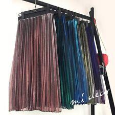 Women Sheer Voile Dress Skirt Pleat Shiny Metallic Gradient Double Layer Midi