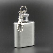 Flask 1 oz mini stainless steel screw cap hip pocket key chain alcohol liquor