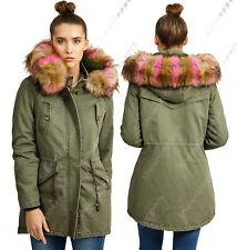 NEW Womens FAUX FUR PARKA CANVAS PADDED JACKET COAT Size 8 10 12 14 16 Khaki