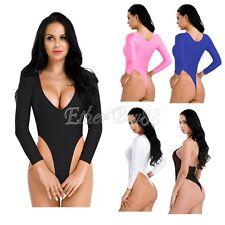 Women Lingerie Long Sleeve High Cut Crotchless Thong Leotard Bodysuit Jumpsuit