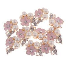 10pcs Pearl Rhinestone Flower Button Flatback Embellishments Craft for Decor
