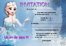 5 o 12 invitaciones de cumpleaños FROZEN ref 12