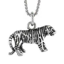 "Sterling Silver TIGER 3D (3 Dimensional) Pendant / Charm, 18"" Italian Box Chain"