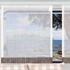 Flächengardine Store Annik weiß-braun Caravan-Gardine mit Profilen Tunnelband