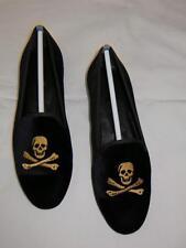 Zalo Gentry Skull Gold Black Velvet Flat Slip on Loafer Spain Lip Based