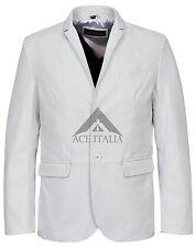 Homme Veste en Cuir élégant Milano Classique Blazer Blanc 100% Napa Manteau 3450