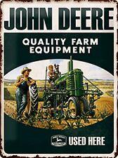 John Deere Quality Farm Equipment Used embossed metal sign 400mm x 300mm (na)