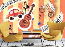 3D Guitar Girl Cartoon Art 1479 Wall Paper Wall Print Decal Wall AJ WALLPAPER CA
