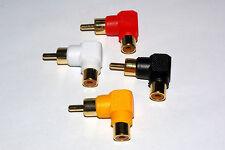 Right Angle Phono RCA Socket to Plug 90 Deg Adaptor various sets available