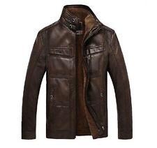 Hot 17 Australia Mens Coats Soft Real Leather Sheepskin Fur Stand Collar Jackets